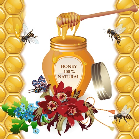 dipper: Jar of honey with wooden dipper, bees and flowers