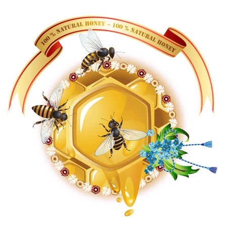 Three bees, honeycombs, ribbon and cornflowers Vector