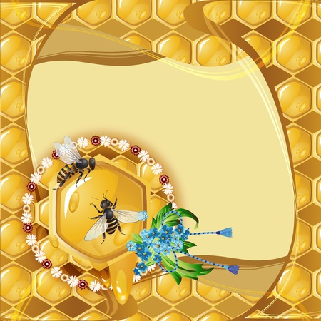 Background with bees, flowers and honeycomb  Vector