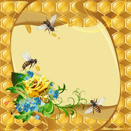 mead: Background with bees, yellow rose, cornflowers and honeycomb
