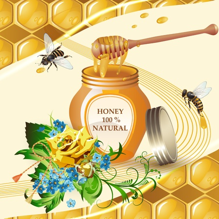 honey dipper: Jar of honey with wooden dipper, bees and yellow rose Illustration