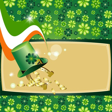 St  Patrick s Day card design with clover, flag, topper horseshoe and rainbow  Vector