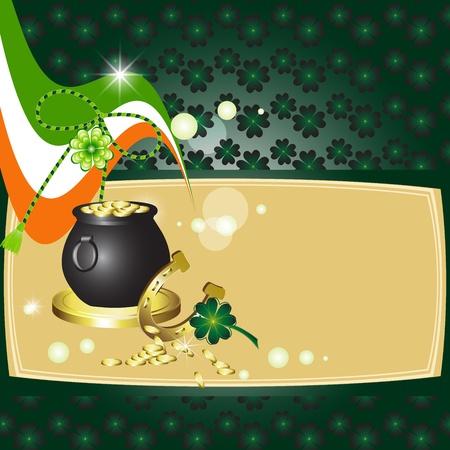 earthenware: El dise�o de St Patrick s Day tarjeta con el tr�bol, bandera, barro y monedas Vectores