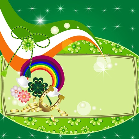 St  Patrick s Day card design with clover, flag, horseshoe and rainbow  Vector