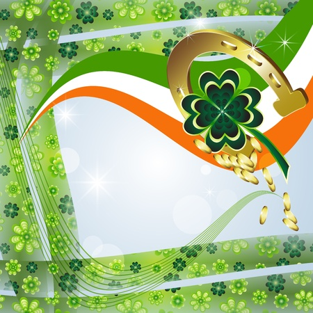 St  Patrick s Day card design with clover, horseshoe, flag and coins  Vector