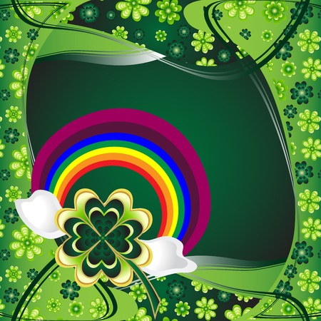 St  Patrick s Day card design with clover and rainbow  Vector