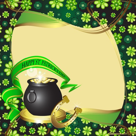 St  Patrick s Day card design with clover, horseshoe and coins  Vector