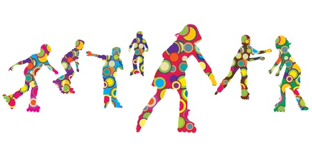 friends having fun: Children silhouettes made of colorful circles on roller skates Illustration