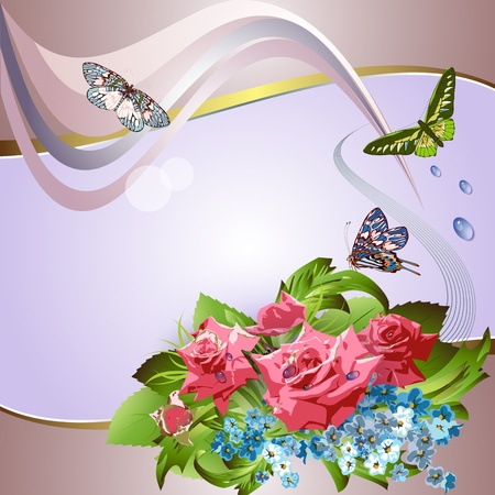 Pink roses, cornflowers and butterflies on elegant background  Stock Vector - 12922001