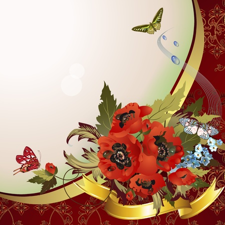 Background with poppies, cornflowers and butterflies  Vector