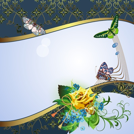 Background with yellow rose, cornflowers and butterflies  Vector