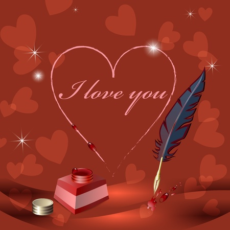 writting:  I love you  is writting on paper with feather  Illustration