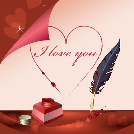 roses and hearts:  I love you  is writting on paper with feather Illustration