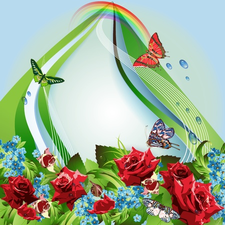 red sky: Background with red roses, cornflowers, butterflies and and rainbow  Illustration