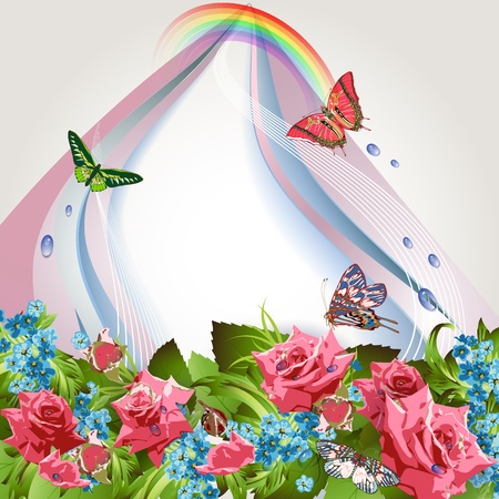 cornflowers: Background with pink roses, cornflowers, butterflies and and rainbow