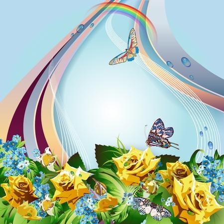 gele rozen: Achtergrond met gele rozen, korenbloemen, vlinders en en regenboog