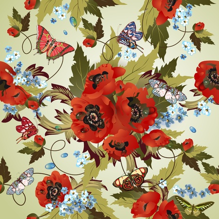 continuity: Beautiful seamless pattern with poppies  Illustration