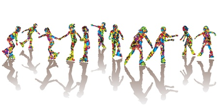 friends having fun: Children silhouettes made of colorful spots on roller skates