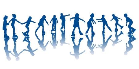 patinar: Niños en patines posando al aire libre Vectores