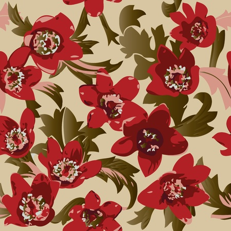 rose stem: Seamless color peony pattern