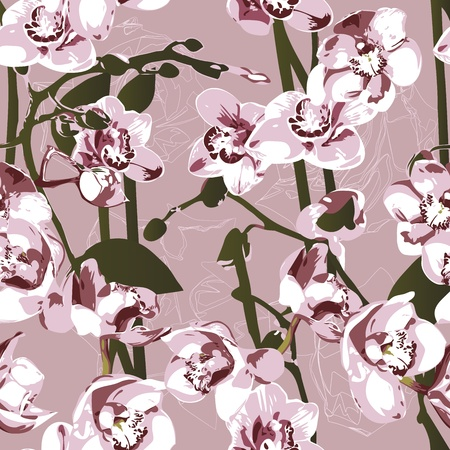 Seamless pattern with orchids  Vector