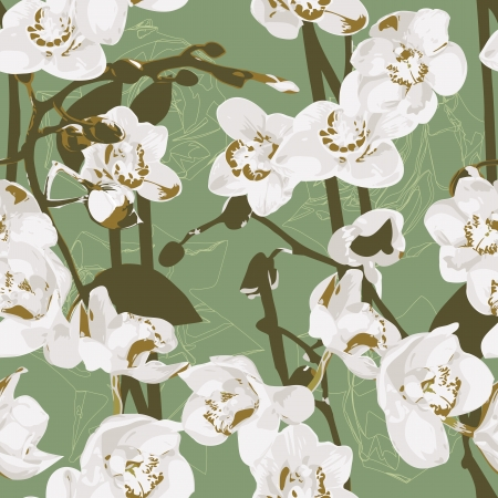 floral arrangements: Seamless pattern with orchids