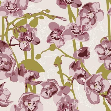 Naadloos patroon met orchideeën