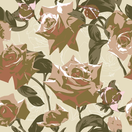 Beautiful seamless pattern with roses Vector