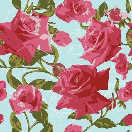rose stem: Beautiful seamless pattern with pink roses Illustration