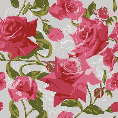Beautiful seamless pattern with pink roses Stock Vector - 12921978