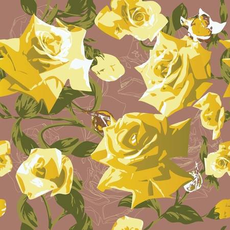 Beautiful seamless pattern with yellow roses Illustration