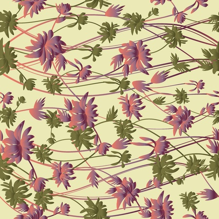 drawing on the fabric: Beautiful seamless floral pattern Illustration