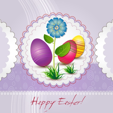 Easter card with colored eggs and blue flower Vector