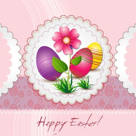 colored eggs: Easter card with colored eggs and flower Illustration