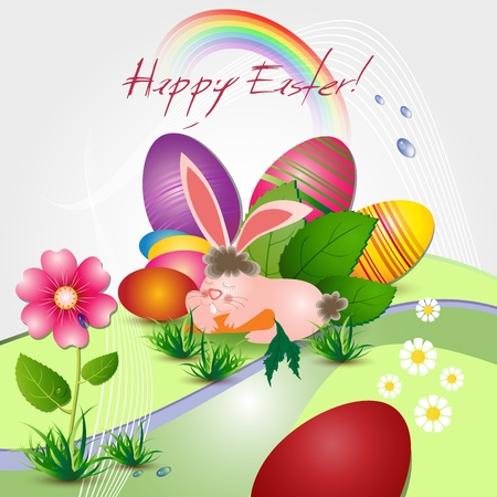 Easter card with bunny, colored eggs and flowers Stock Vector - 13003970
