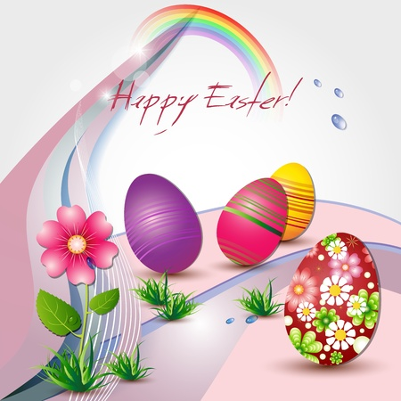 Easter card with colored eggs and flower Vettoriali