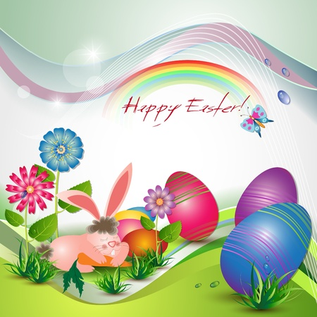Easter card with bunny, colored eggs and flowers Vector