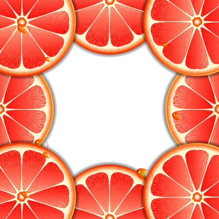Background with grapefruit slices  Vector