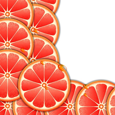 produce sections: Background with grapefruit slices  Illustration