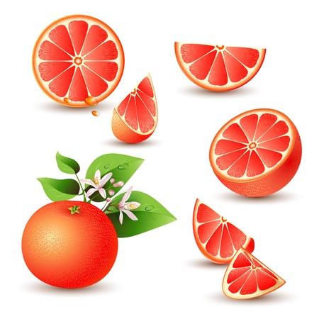 toronja: Pomelo fresco con flores, hojas y cortar pomelos