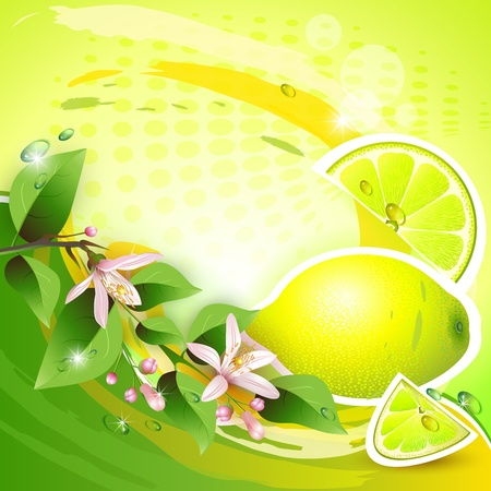 Abstract background with fresh lemon, flowers and lemon slices
