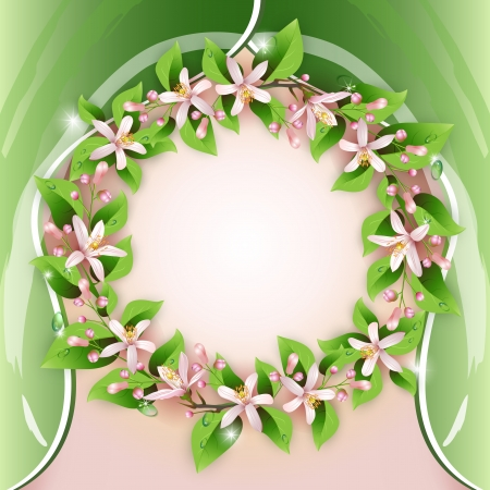 Background with flower wreath and beautiful decoration Stock Vector - 13618371