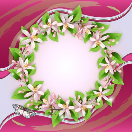 Background with flower wreath and beautiful decoration Stock Vector - 13618370