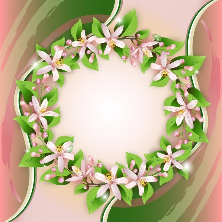 Background with flower wreath and beautiful decoration  Stock Vector - 13618367