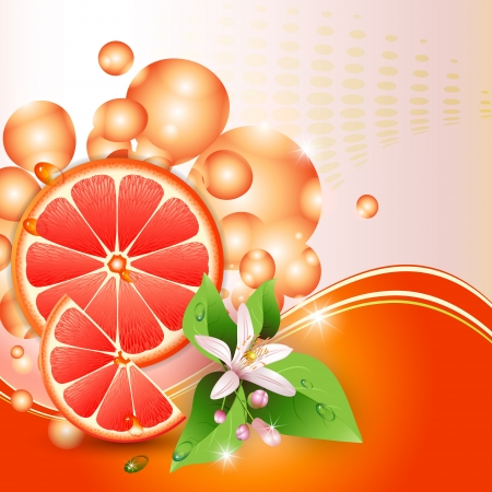 Abstract background with juicy slices of grapefruit and flowers