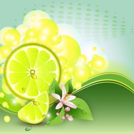 Resumen de antecedentes con jugosas rebanadas de la fruta de limón y flores