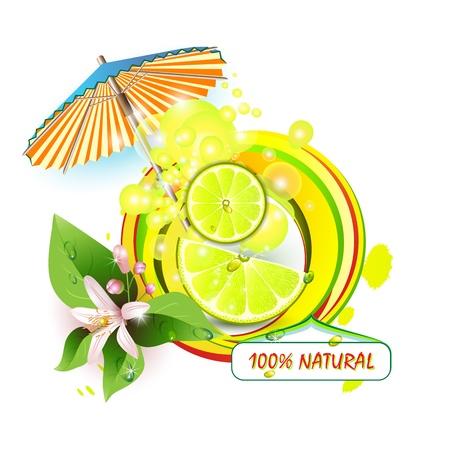 mix fruit: Slices lemon with flowers, leaves and umbrella  Illustration