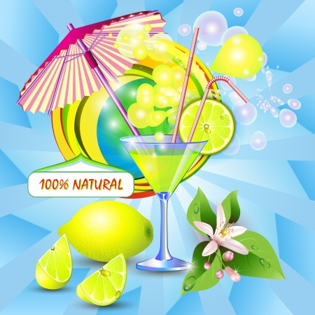 tropical drink: Abstract background with fresh lemon juice, flowers and lemon slices