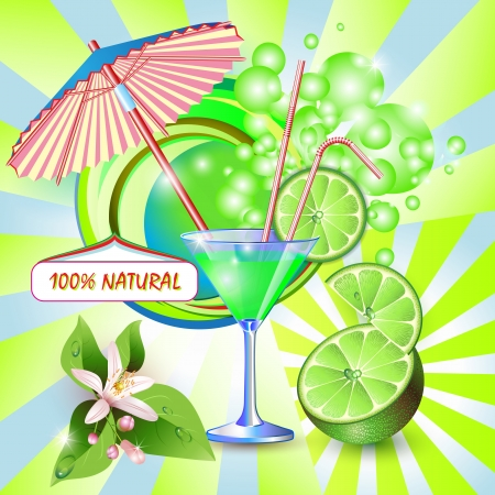 Abstract background with fresh lime juice, flowers and lime slices  Vector