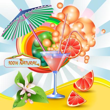 Resumen de antecedentes con zumo de pomelo fresco, las flores y las rebanadas de toronja